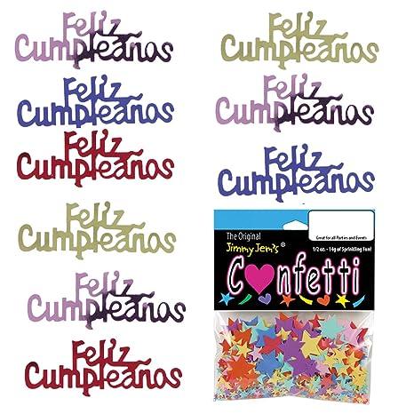 Confetti Word Feliz CUMPLEANOS Multicolors - 2 Half Oz Bags (1 oz) Free Ship (7757)