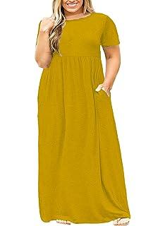 5083ccc872a7 Nemidor Women Short Sleeve Loose Plain Casual Plus Size Long Maxi Dress  with Pockets