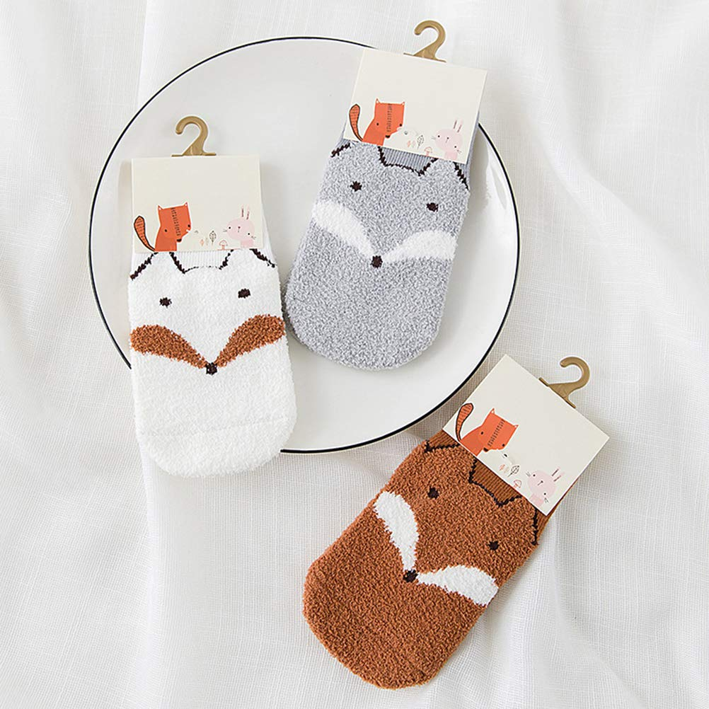 TENDYCOCO 3 Pairs Baby Infant Anti Slip Socks Winter Warm Cute Animal Fox Coral Velvet Socks Size XS