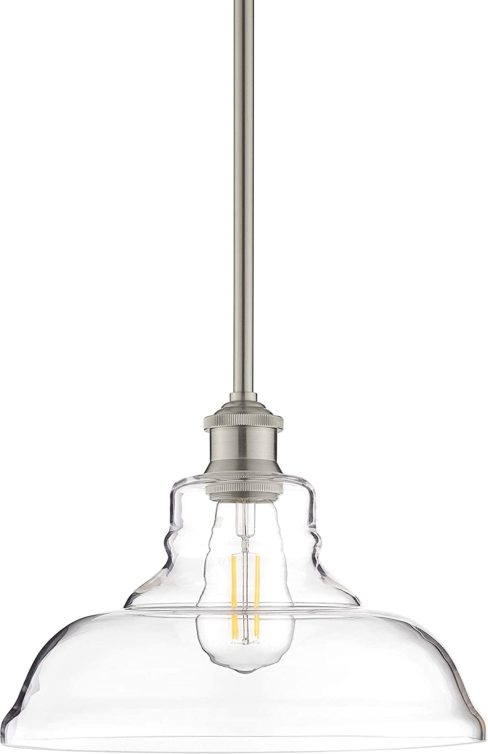 Lucera Glass Kitchen Pendant Light Brushed Nickel Farmhouse Hanging Light Fixture with LED Bulb LL-P431-LED-BN