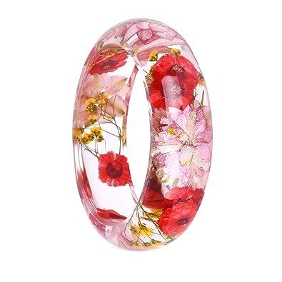 Fashion Jewelry Women Transparent Plastic Bangle Bracelet Dry Flower Inside