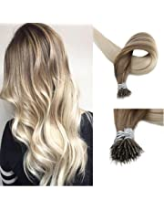 Fshine 18 inch 50 Strands 0.8g Per Strand 40gram Per Package Nano Tip Human Remy Hair Extensions Balayage Ombre Hair Extensions Color #8 Fading to #60 Blonde Hair