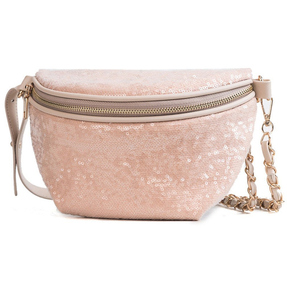 kingsamal Women Waist Bag Fanny Pack Chest Shoulder Crossbody Belly Bag Pu Leather Khaki