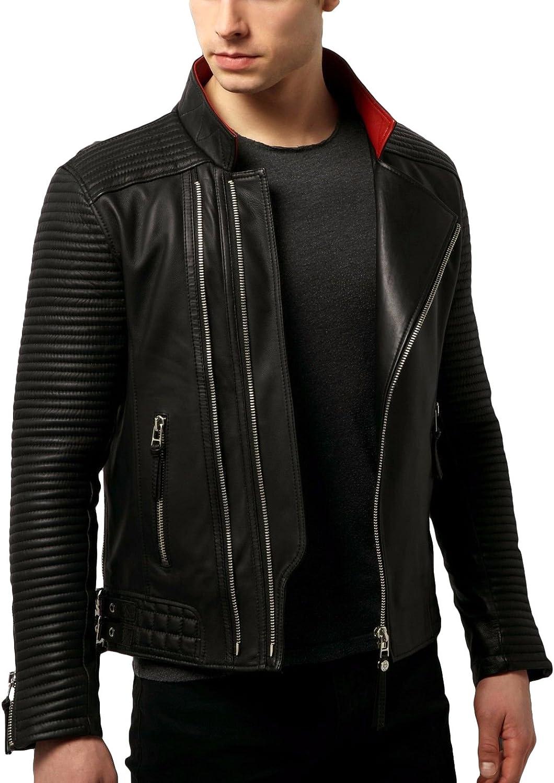 Kingdom Leather New Men Designer Genuine Lambskin Soft Biker Leather Jacket X1099