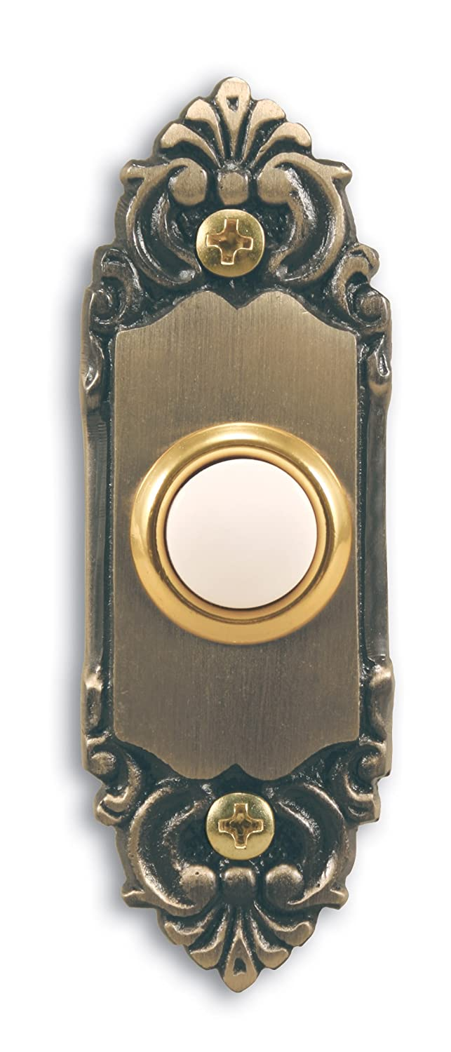 Heath Zenith SL 925 02 Wired Door Chime Push Button Antique Brass with Lighted Center