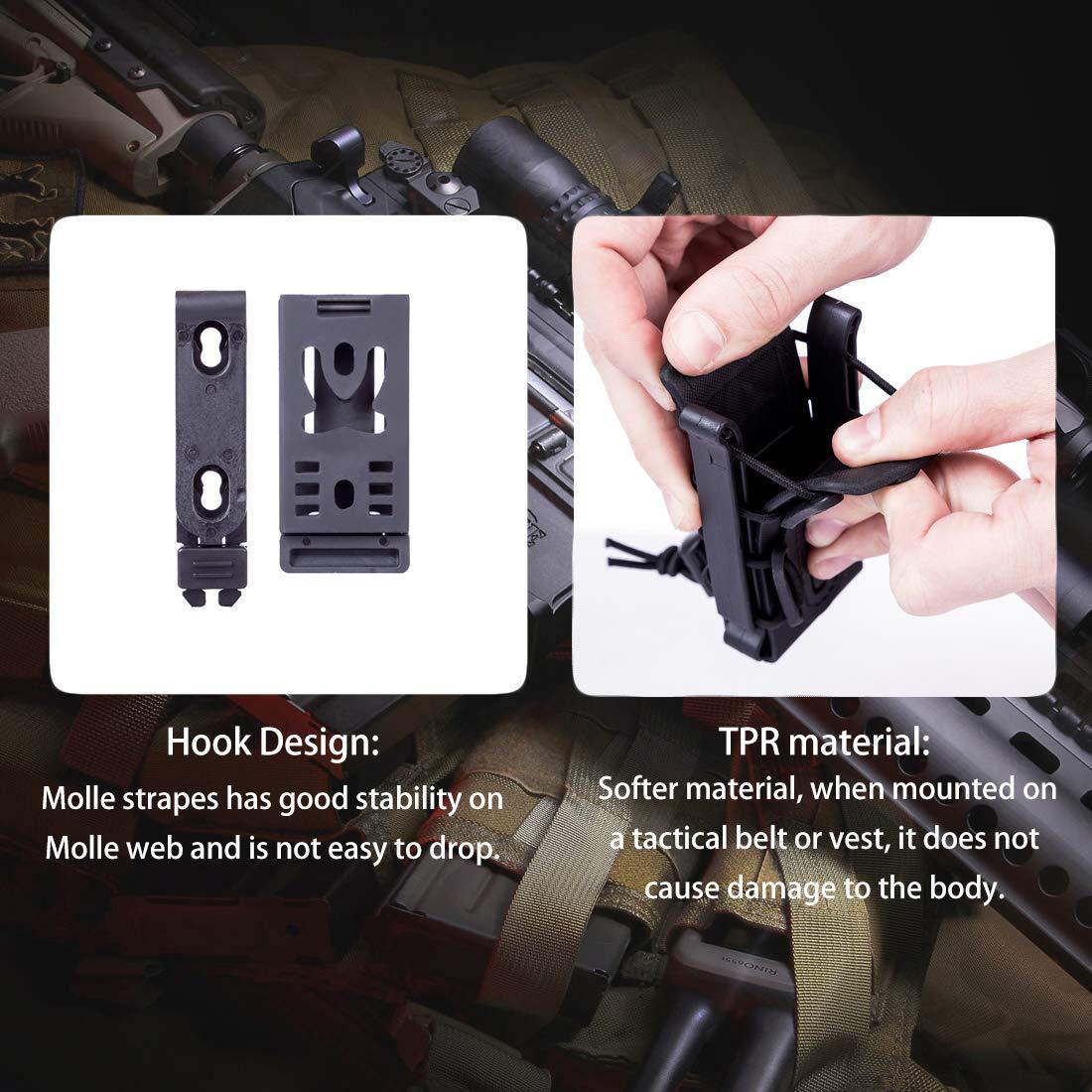 9mm Taktische Magazintasche Molle Fastmag Airsoft Magazine Holder f/ür 5.56//7.62 Mag 2Stk Seciie Mag Pouch Molle