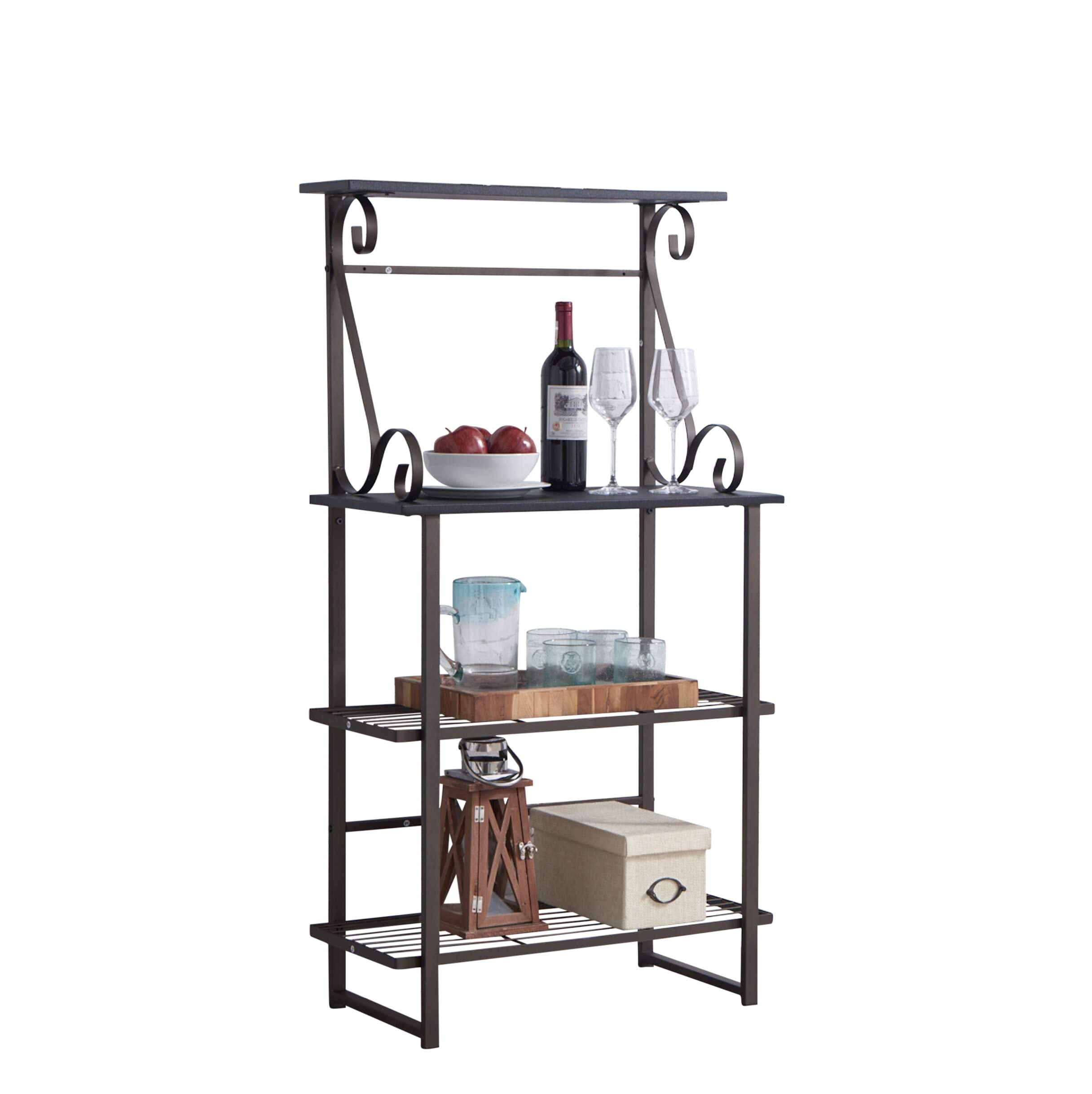 Kings Brand Furniture - Covington Metal Kitchen Baker's Rack, Pewter by Kings Brand Furniture (Image #4)