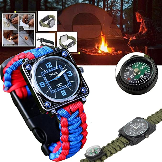 Amazon.com: AOJIAN Outdoor Survival Kit Paracord Wrist Watches Compass Flint Whistle Bushcraft Gear (Black): Clothing