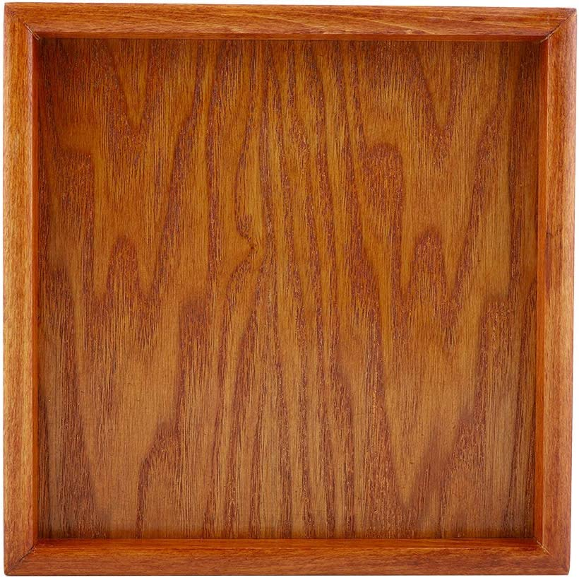 Wooden Serving Tray and Platter Party Plates Wooden Fruit Serving Food Dishes Board Easy Carry Handle, Square 7.9inch