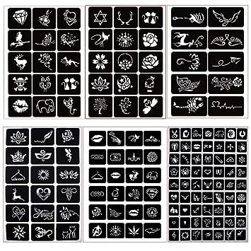 Amazon Com Henna Tattoo Stencil Body Art Reusable Sticker Stencils