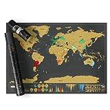 LONZOTH Weltkarte zum Rubbeln– Schöne Erinnerung an bisherige Reisen für jeden Globetrotter (Schwarz) (Black)