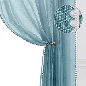 Selectex Natural Flax Blended Semi Sheer Privacy Protection Curtains Grommet Linen Sheer Curtains with Classic Border for Nursery Room Bedroom Turquoise 52x72 Inch Set of 2 Panels