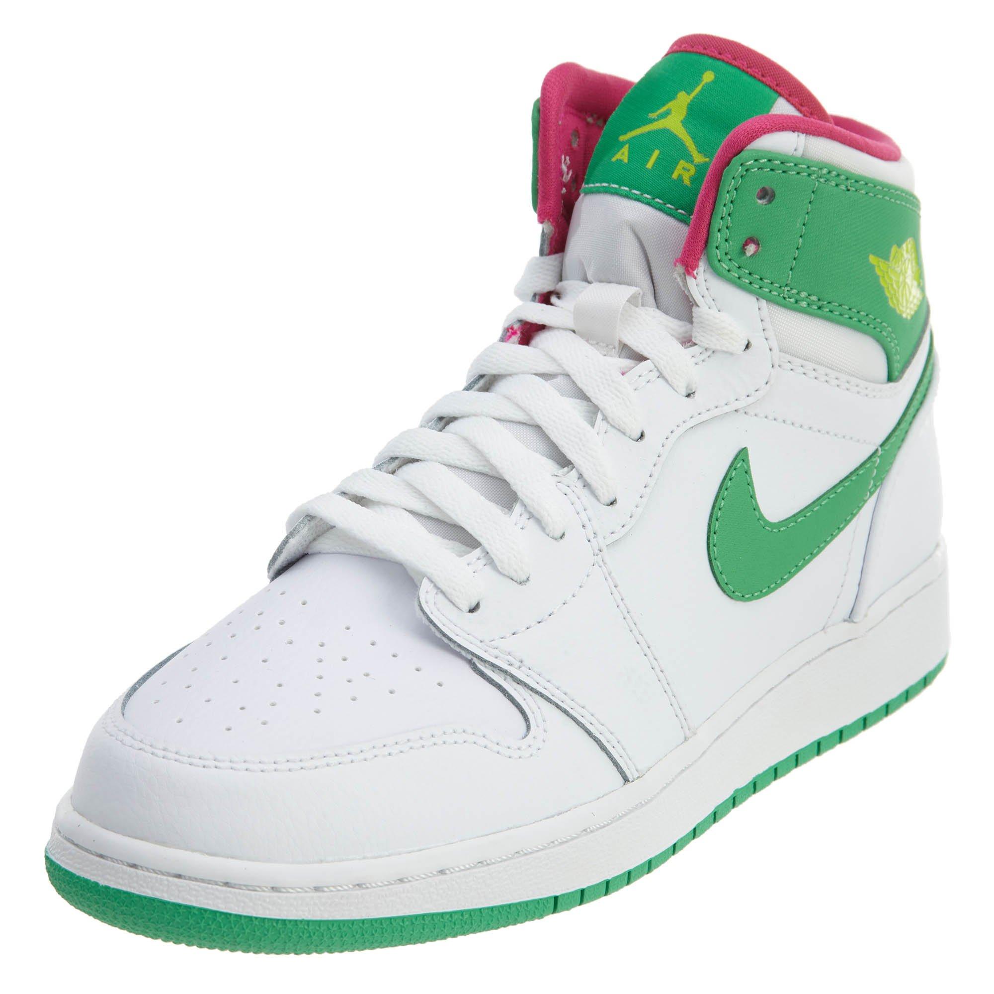 1b9c59215a85c6 Galleon - Jordan Nike Air 1 Retro High GG White Pink Green 332148-134  (Size  8.5Y)
