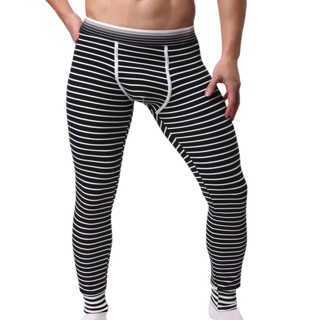 BYSTE Uomo Inverno Termico stretto Pantaloni di cotone caldo Mutande A strisce Lungo Pantaloni Leggings
