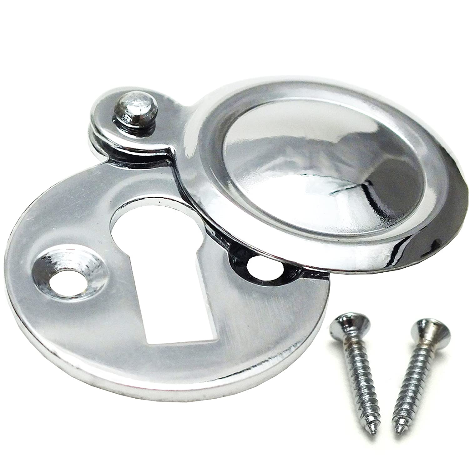 Chrome Covered Key Escutcheon - Round Front Main Door Keyhole - Plate Lock Cover White Hinge