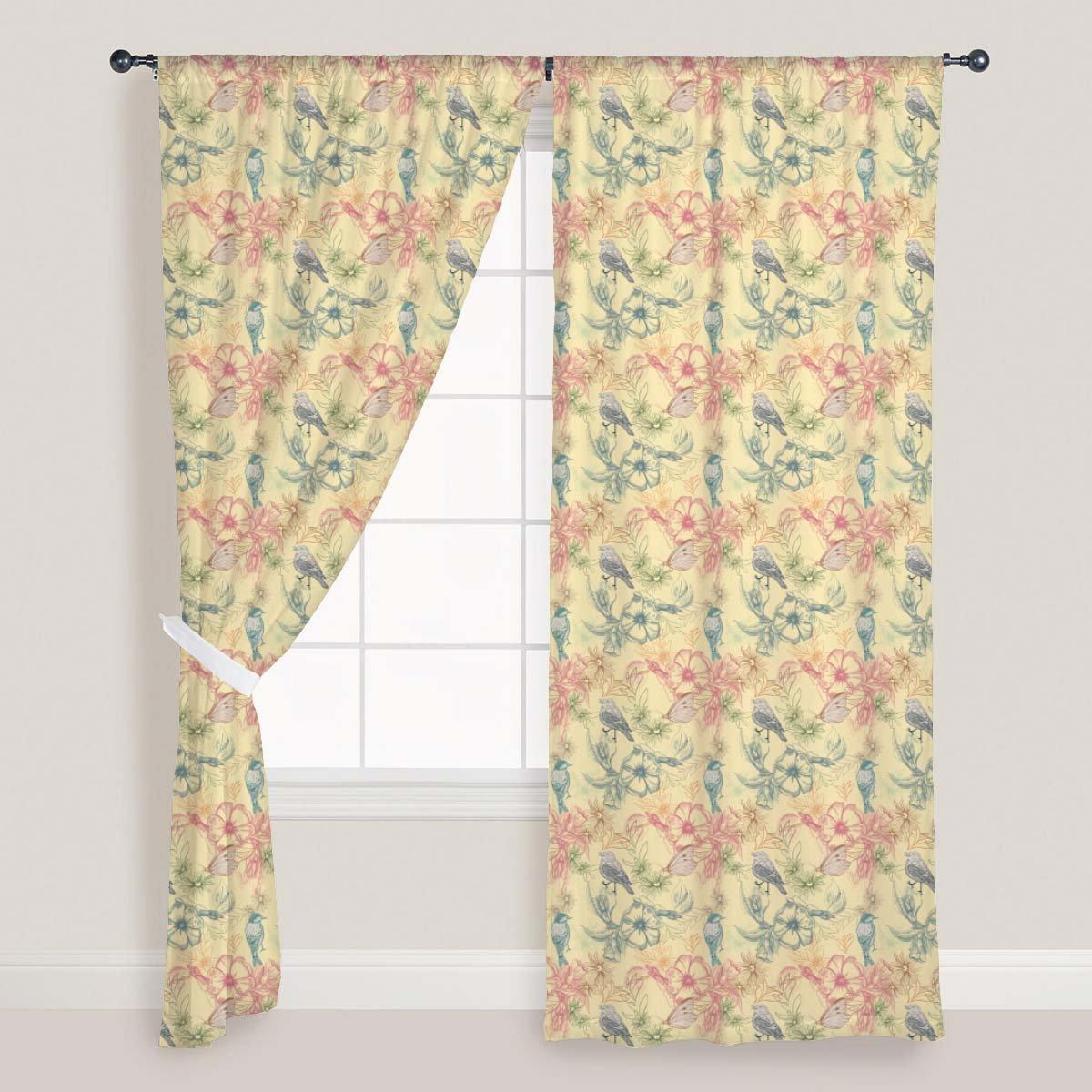 AZ Spring Flowers Door & Window Curtain Satin 4feet x 11feet; SET OF 3 PCS