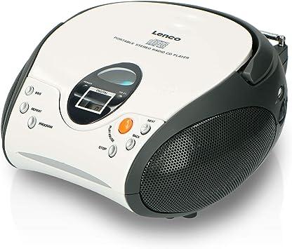 Lenco SCD-24 - Radio FM estéreo (Reproductor de CD y Antena telescópica) Blanco