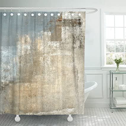 TOMPOP Shower Curtain Brown Contemporary Grey And Beige Abstract Painting Gray Modern Neutral Waterproof Polyester Fabric