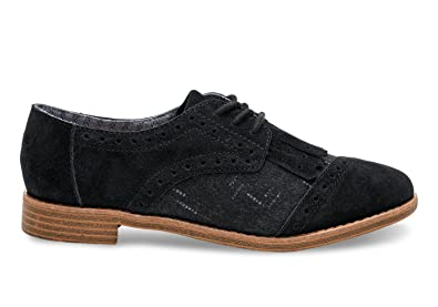 17edae0a3780 TOMS Women's Brogue Dress Lace-Up Black Suede/Wool Kiltie Oxford 6.5 B (
