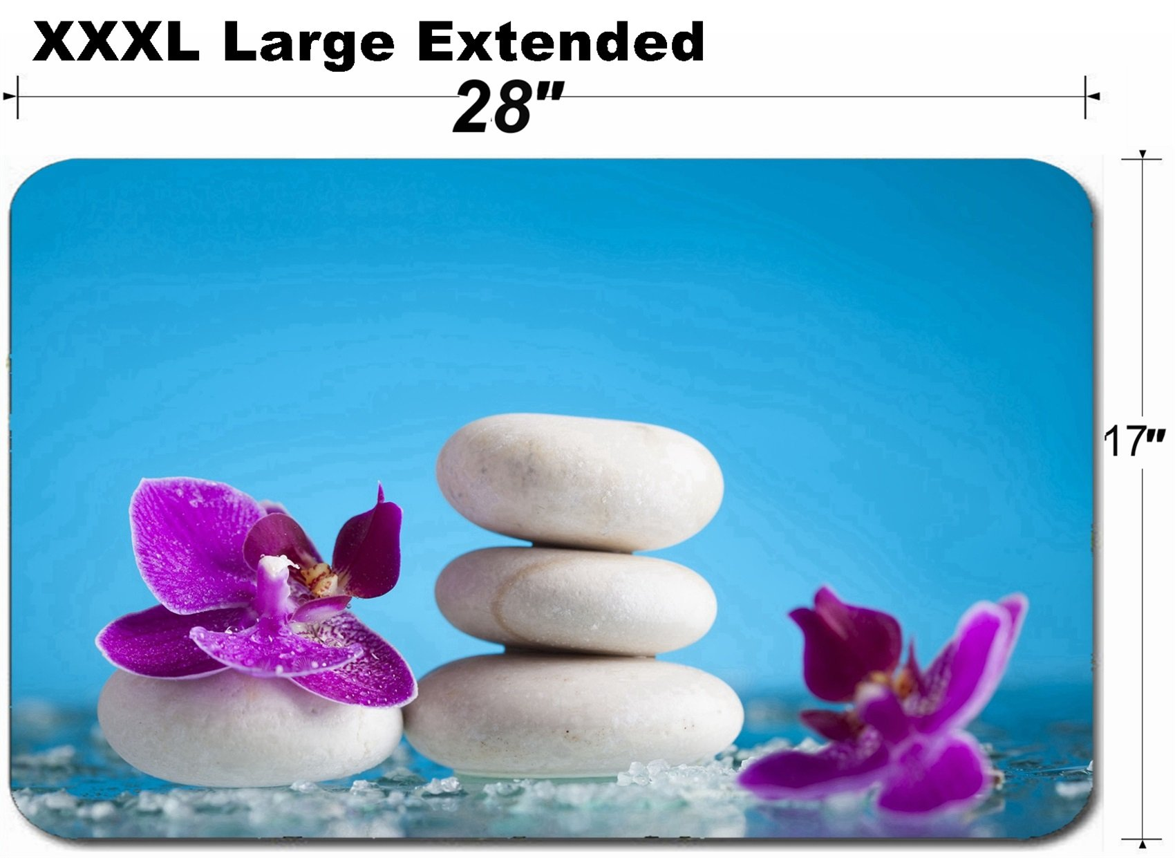 MSD Large Table Mat Non-Slip Natural Rubber Desk Pads Image ID 36433401 Spa Still Life with Pink Orchid and White Zen Stone on Blue backgroun