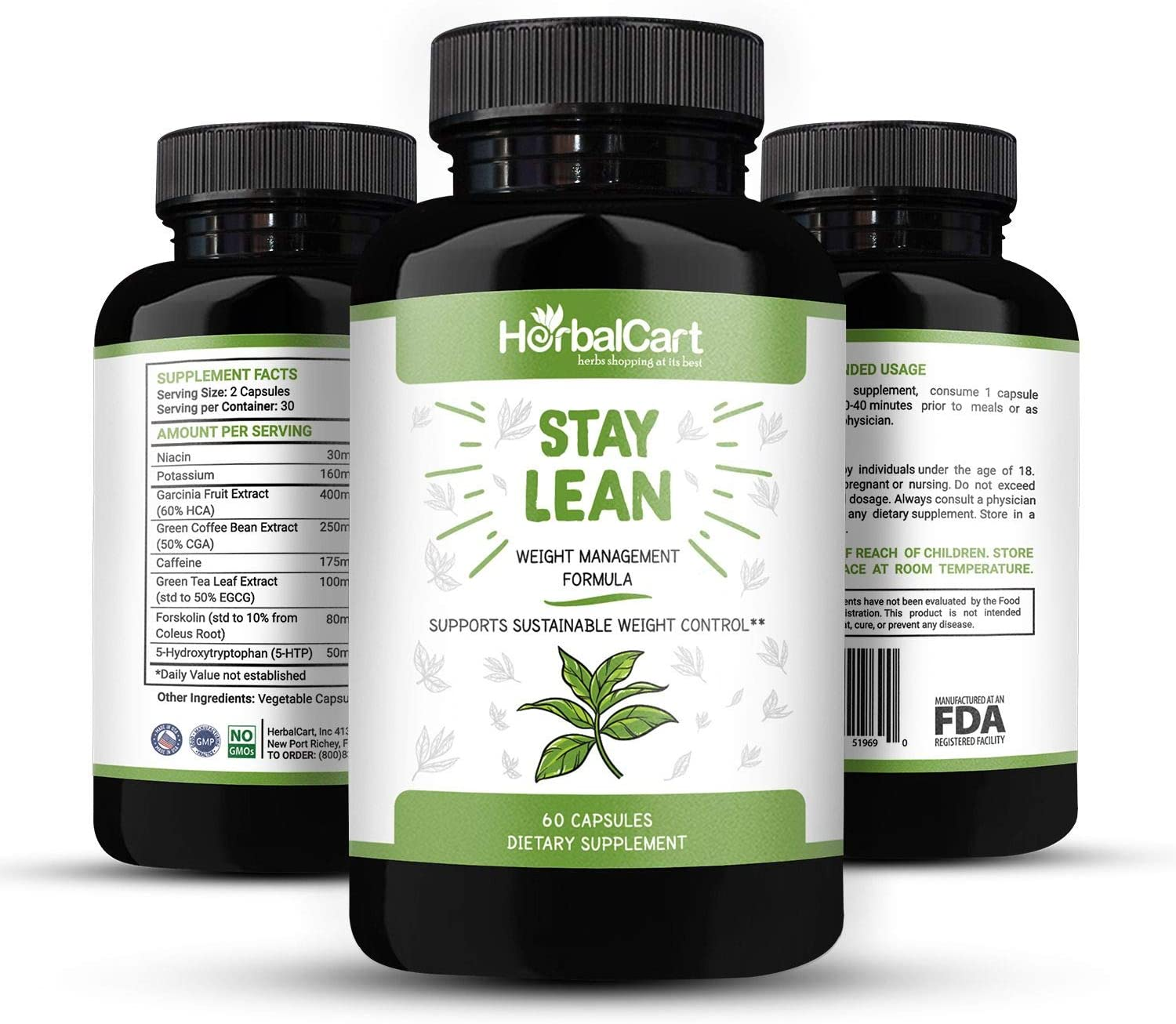 HerbalCart – Weight Loss Pills – Stay Lean for Men Women – Formulated with Niacin, 5-Hydroxytryptophan, Caffeine, Green Coffee Bean Extract More Natural Ingredients 60 Capsules