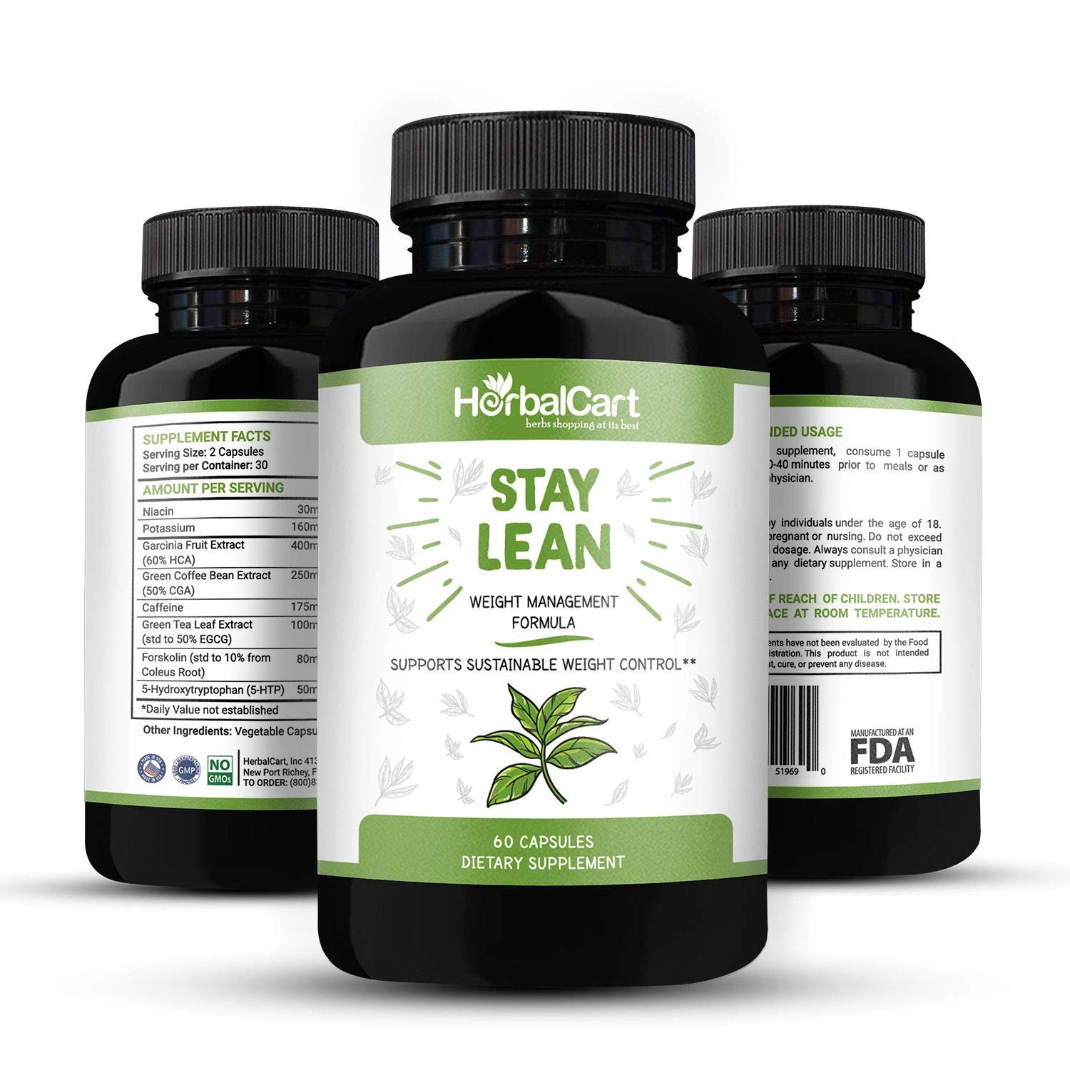 HerbalCart - Weight Loss Pills - Stay Lean for Men & Women - Formulated with [Niacin, 5-Hydroxytryptophan, Caffeine, Green Coffee Bean Extract & More Natural Ingredients] 60 Capsules