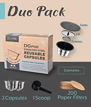 SEALPOD Dolce Gusto Reusable Capsules, Refillable Coffee Pods Compatible with Nescafe Dolce Gusto Machine, Durable Stainless Steel - DGPod Duo Pack [2 PODs, 200 Paper Filters] (Color: Duo pack)