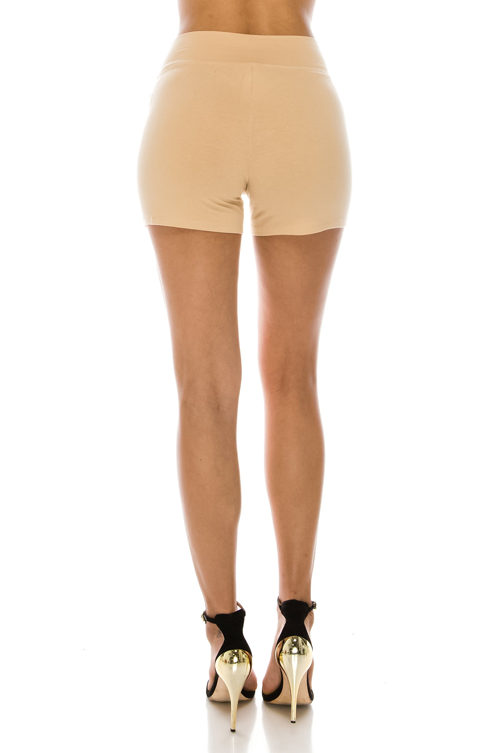 The Classic Women's Stretch Cotton Activewear Dance Yoga Booty Shorts Pants S to 3XL (Large, Nude_High) by The Classic (Image #2)