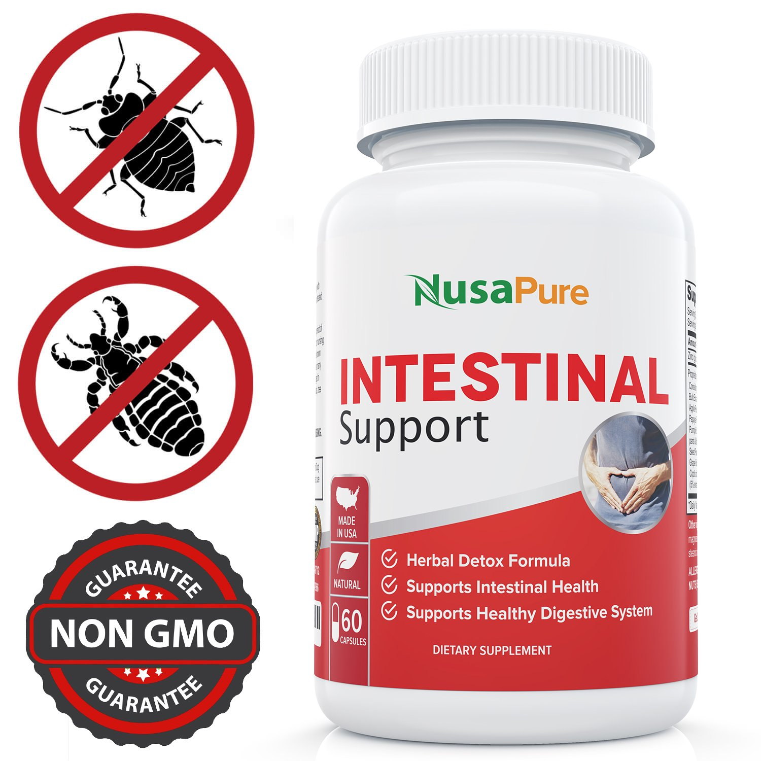 Intestinal Support for Humans (Non-GMO & Gluten Free) with Wormwood, Garlic, Black Walnut Hull & More: 60 Capsules by NusaPure