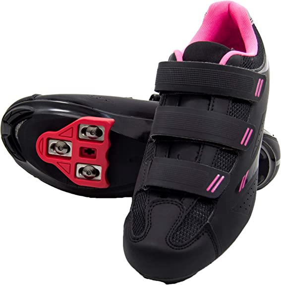 Tommaso Pista Women's Spin Class Ready Cycling Shoe Bundle with Compatible Cleat, Look Delta, SPD - Black, Blue, Pink, White