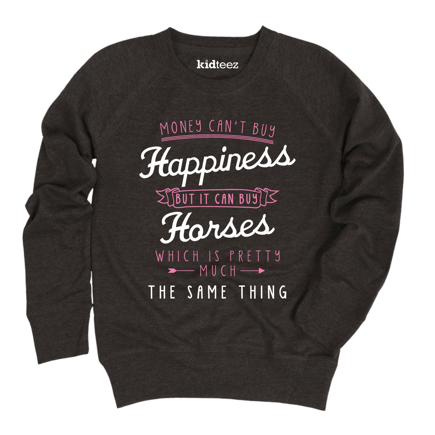 Air Waves Happiness Horses-Youth Girls Slouchy Pullover