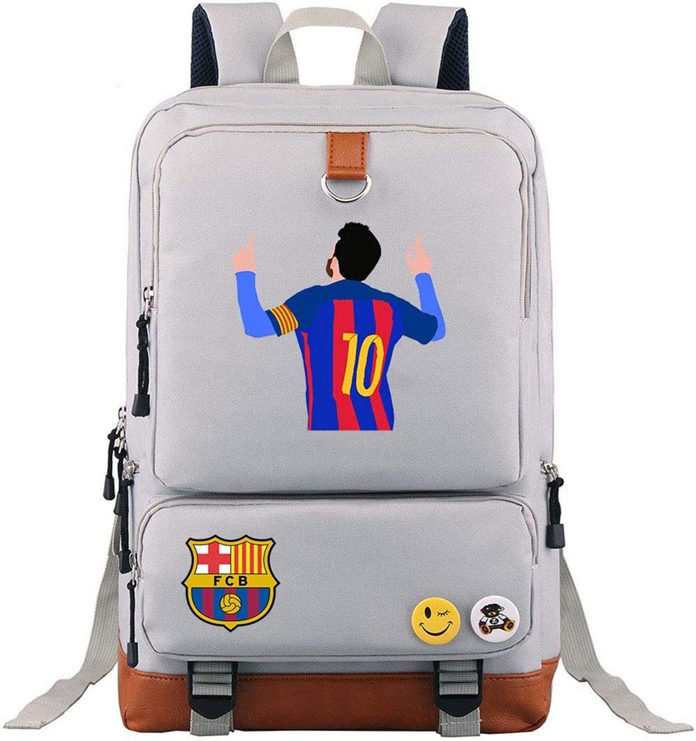 GoBen Kids Students Lionel Messi Canvas School Laptop Backpack-Waterproof Travel Backpack School Book Bag for Boys Girls