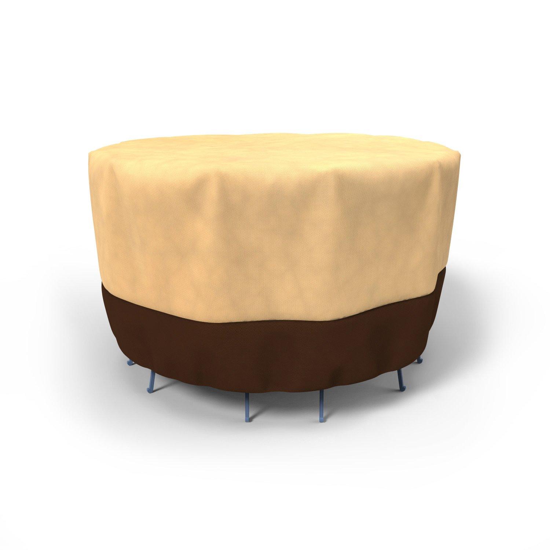 Budge All-Seasons Patio Bar Table and Chairs Cover, Khaki Brown (60'' Diameter x 42'' Drop)