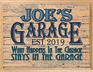 Garage Sign Custom Name Man Cave Retro Wall Art Décor Gift for Men Him Dad Husband or Grandpa