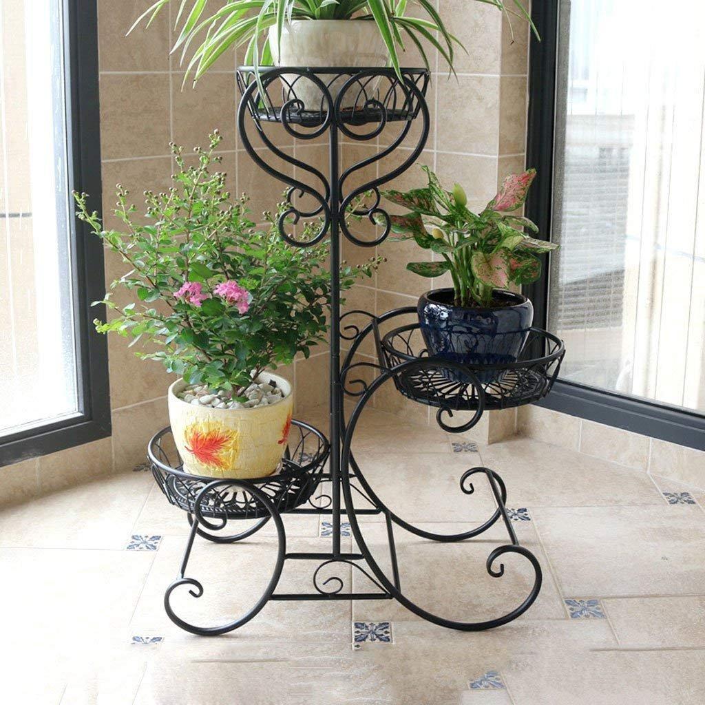 JU Blaumenregale Europäische Blaumenregale Eisen Etagenboden Balkon Innenboden - - - Stil Pastorale Pflanzen Racks Töpfe Regal B07FZTFK9J | Angenehmes Aussehen  dfddc9