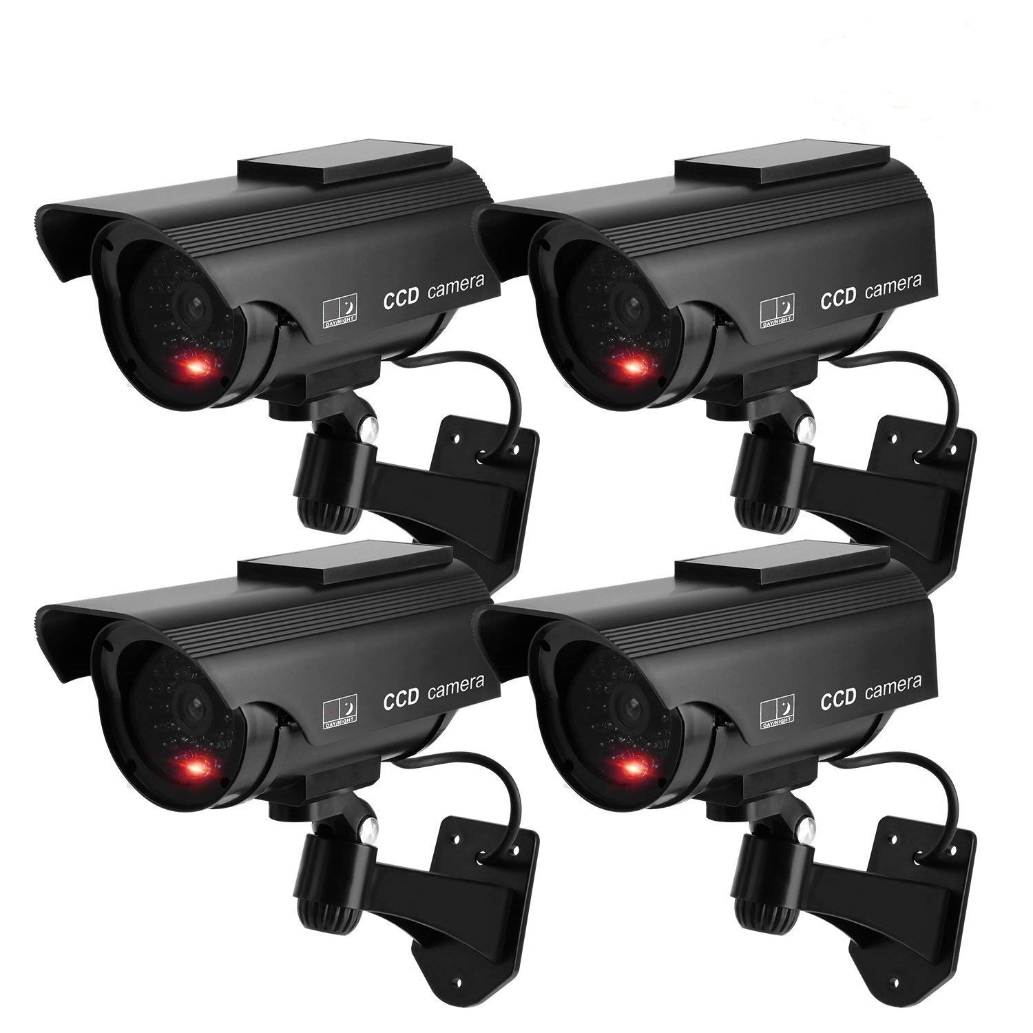 TKOOFN 4 PCS Solar Powered Fake Camera Imitation Dummy Security CCTV Camera Bullet with Flashing LED Light Black by TKOOFN