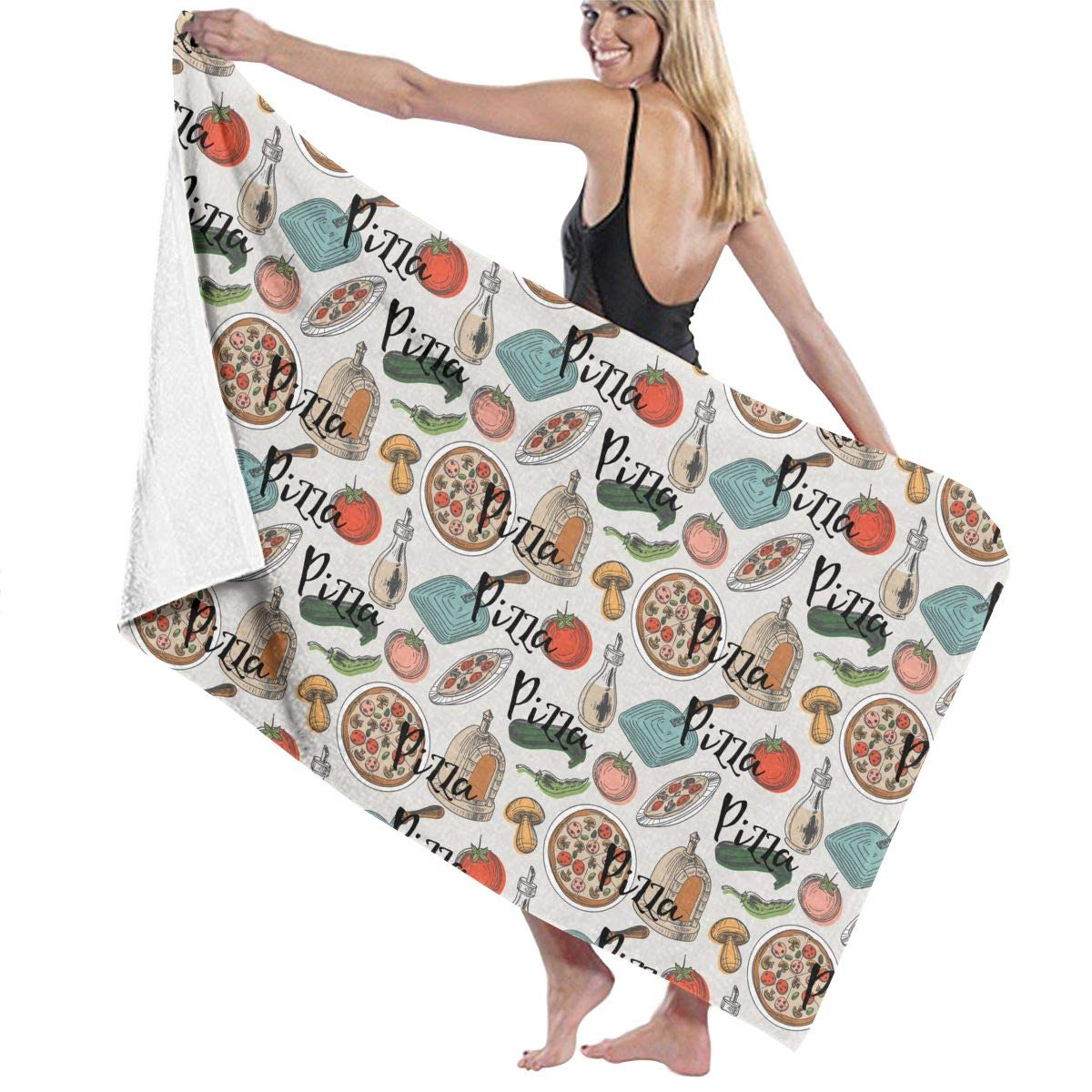 b443a930ba Amazon.com  Thigh Gap Three Slices Pizza Same Thing Prints Bath Towel Wrap  Womens Spa Shower and Wrap Towels Swimming Bathrobe Cover Up for Ladies  Girls ...