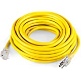 SIMBR 12/3 Outdoor Extension Cord 25 FT, Heavy Duty 12 Gauge Lighted, 15 Amps, 1875 Watts, UL Listed, SJTW, Yellow ( 25 ft )