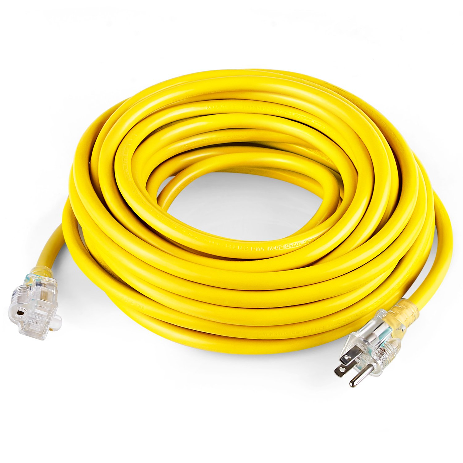 SIMBR 12/3 50 FT Extension Cord Outdoor, Heavy Duty Electrical Cord 12 Gauge Lighted, 15 Amps, 1875 Watts, UL Listed, SJTW, Yellow (50 ft)