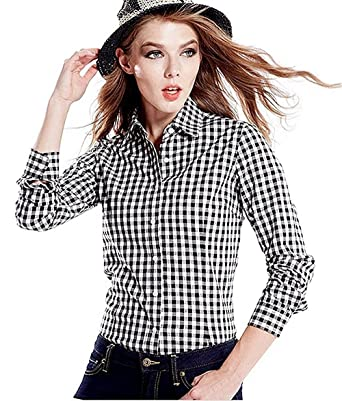1f8025c9 women Black-white check shirt (Cotton/Rayon): Amazon.in: Clothing &  Accessories
