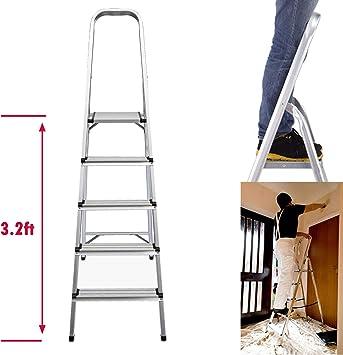 Escalera plegable de 5 peldaños de aluminio ligero, altura de plataforma superior 3.2 pies, carga máxima 330 libras, para el hogar, cocina, garaje, hogar, uso diario: Amazon.es: Bricolaje y herramientas