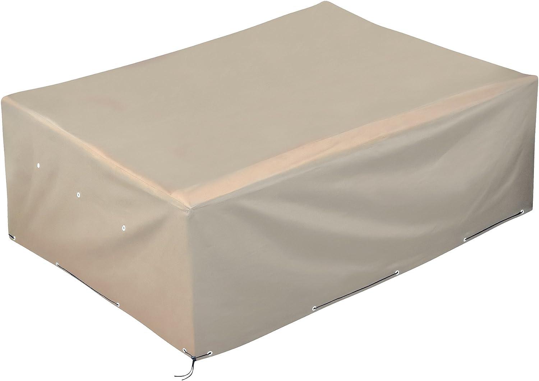 GardenMate® Funda Protectora de poliéster Oxford para Muebles de jardín 200x160x70 cm - Tejido Oxford 220 gsm Color de Arena/Beige