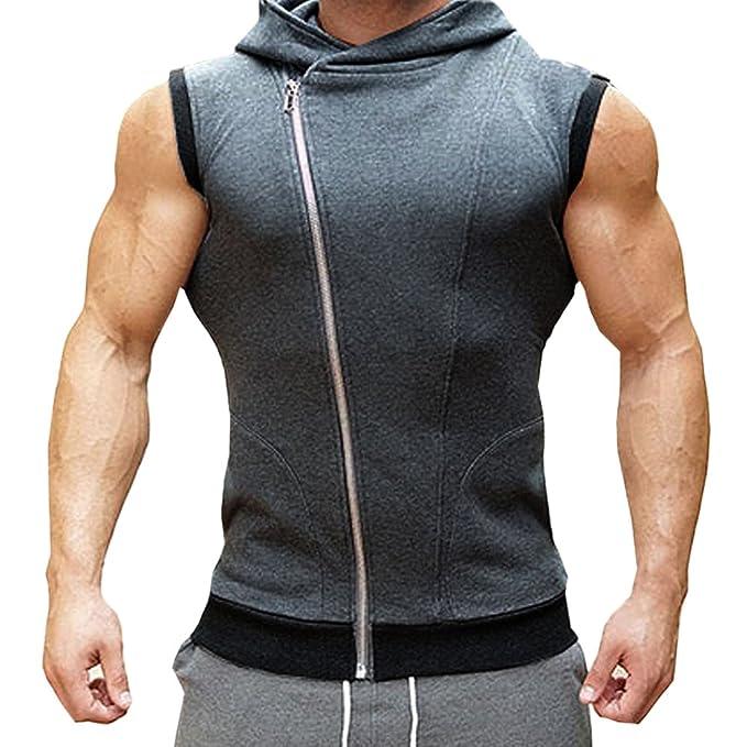 6aa8fcb0892e semen Herren Weste Shirt Kapuzensweatshirt mit Reißverschluss Ärmellos  Shirts gym Trainingsshirt Weste Fitness Sport Freizeit  Amazon.de   Bekleidung
