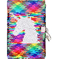 Sequin Notebook - PojoTech Mermaid Reversible Sequin Journal – Magic Travel Journal Notebook Gift for Adults and Kids (Rainbow Unicorn with Lock)
