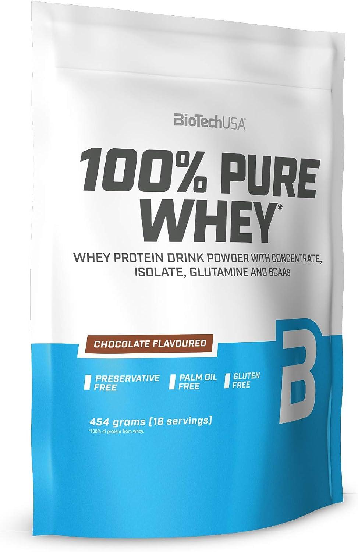 BioTechUSA 100% Pure Whey Complejo de proteína de suero, con aminoácidos añadidos y edulcorantes, sin conservantes, 454 g, Chocolate