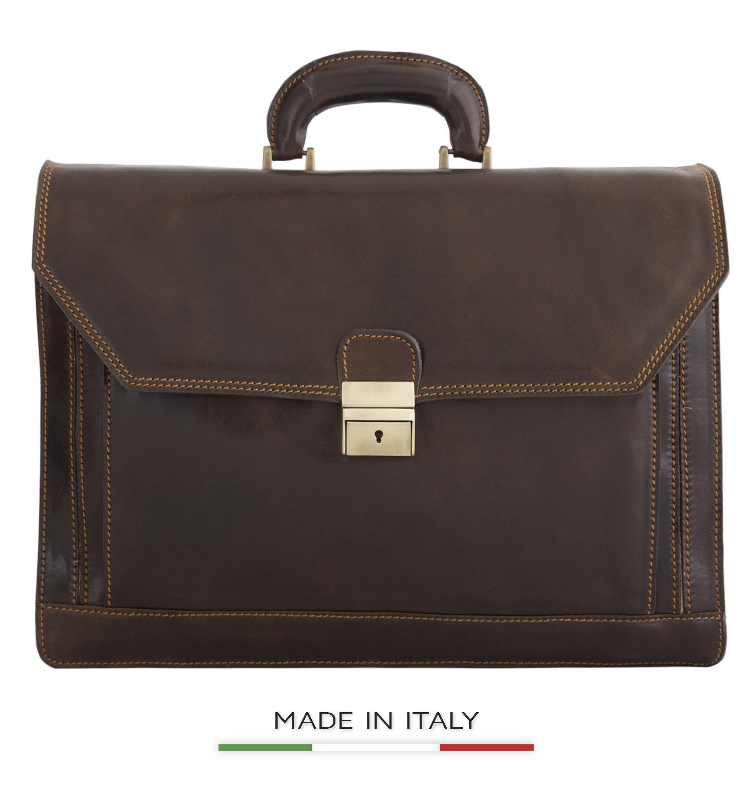 CUSTOM PERSONALIZED INITIALS ENGRAVING Alberto Bellucci Milano Capri Large Flapover Triple Compartment 16'' Laptop Briefcase - Dark Brown by Alberto Bellucci