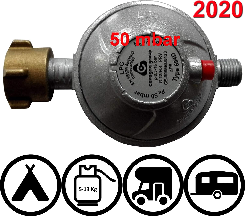 TGO Sicherheits-Druckregler f/ür Fahrzeuge Caravan und Wohnmobile 30 oder 50mbar mit Aufdruck 2018