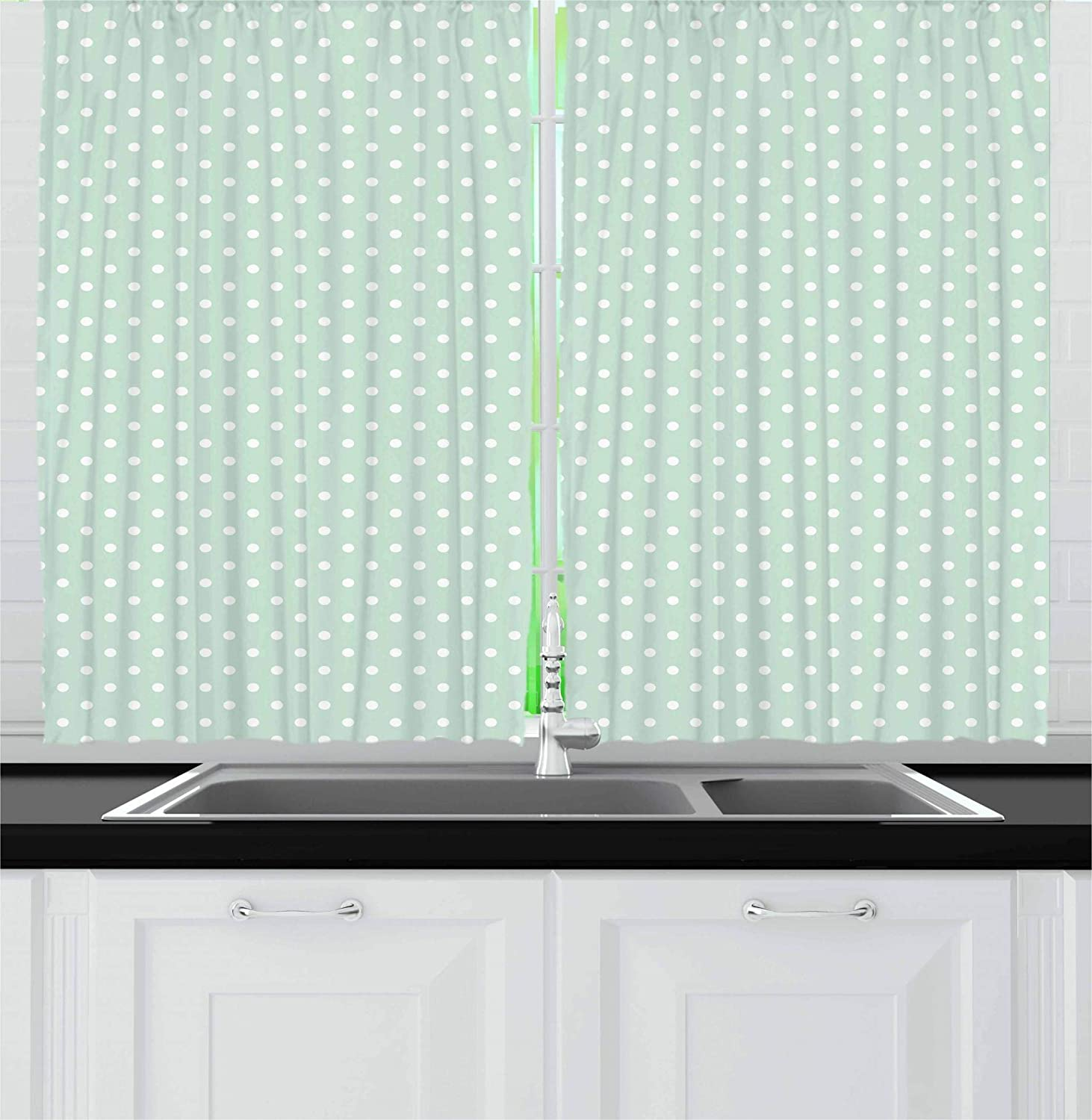 Ambesonne Green Kitchen Curtains, Retro Style Baby Nursery Themed Pattern with Little White Polka Dots Pastel, Window Drapes 2 Panel Set for Kitchen Cafe, 55 W X 39 L Inches, Mint Green White