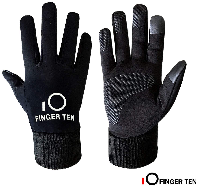 Finger Ten, guanti sportivi per ragazzi e ragazze, per corsa, scuola, leggeri caldi, per esterni, adatti a schermi touch screen 3 m, guanti invernali ottimi come dono natalizio o per il Ringraziamento, Black, Small(Age 4-7)