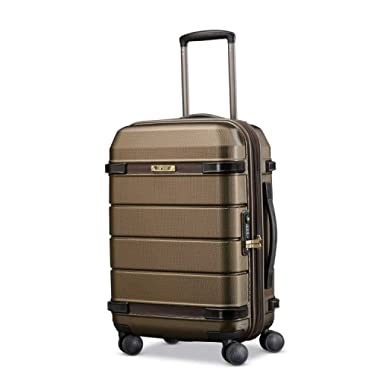 Hartmann Century Carry On Expandable Spinner Carry-On Luggage, Bronze Monogram/Espresso